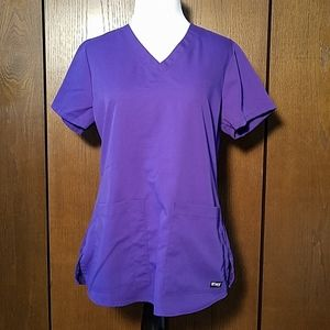 GREY'S ANATOMY PURPLE SCRUBS TOP SZ SMALL